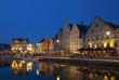 canvas print picture - Abend in Gent Belgien Graslei Hafen