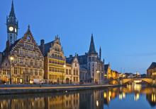 Gent Belgien Häuser Am Graslei Hafen