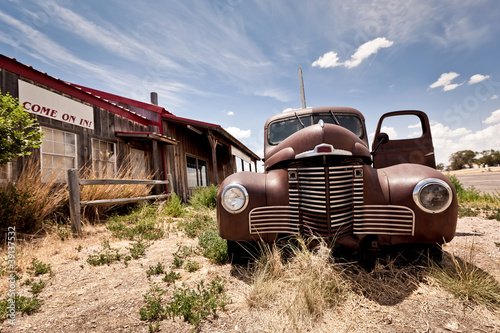Aluminium Prints Route 66 Abandoned restaraunt on route 66 road in USA