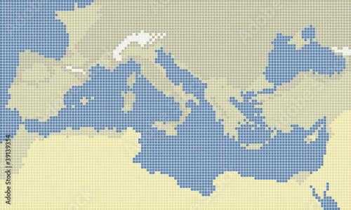 Poster Pixel Mediterranean sea pixel map