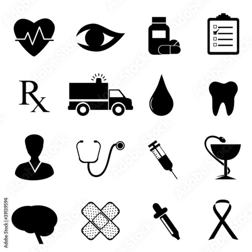 Photo  Health and medical icon set