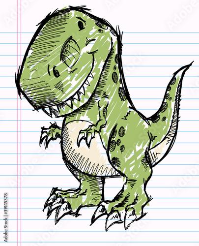 Garden Poster Cartoon draw Tyrannosaurus Dinosaur Doodle Sketch Vector