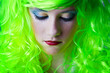canvas print picture - green fairy girl head down