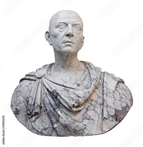 Fotografía  Ancient statue of Julius Caesar isolated on white
