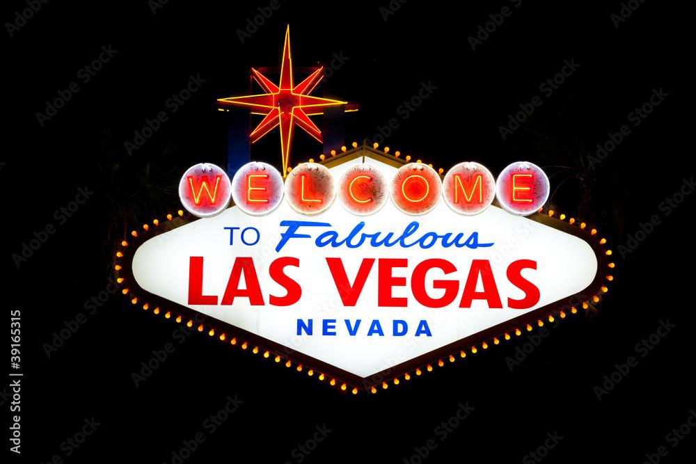 Las Vegas Sign at night Foto, Poster, Wandbilder bei EuroPosters