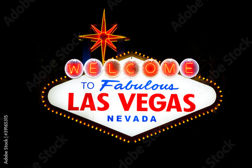 Tuinposter Las Vegas Las Vegas Sign at night