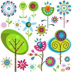 Naklejka Popularne whimsy flowers