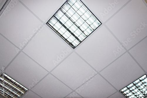 fluorescent lamp on the modern ceiling Fototapeta