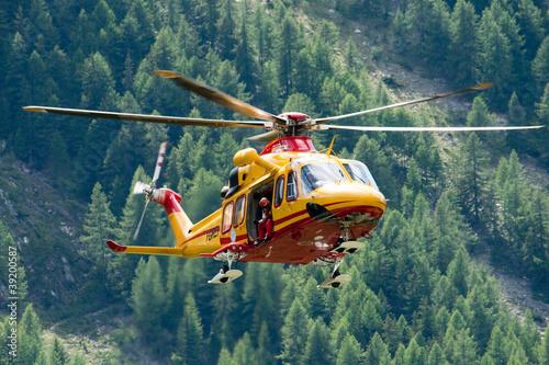 Tuinposter Helicopter Elisoccorso Alpino Valdostano