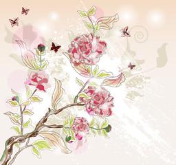 Naklejka Na szybę peony branch painted in an oriental style