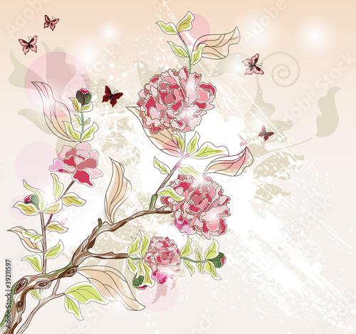 Zastosowanie fototapet piwonia-oddzial-malowane-w-orientalnym-stylu