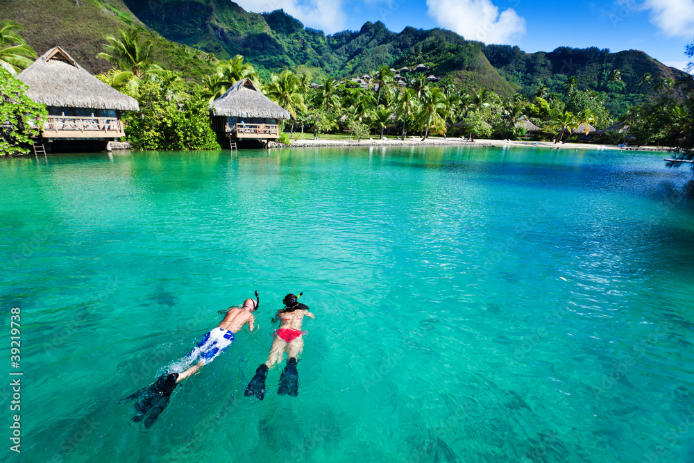 Fototapeta Young couple snorkeling in clean water over coral