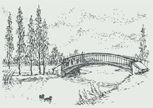 Vector Landscape Of Bridge Over The River And Poplars