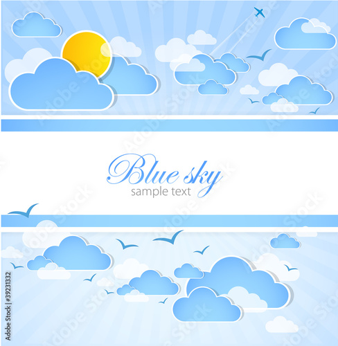 Poster Ciel Good weather background. Blue sky with clouds. Vector