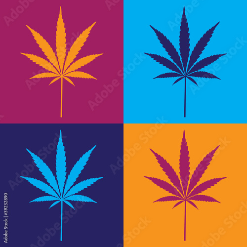 four cannabis leaf illustration in popart - 39232890