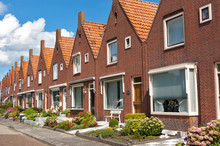 Typical Dutch Family Houses. Modern Architecture In Netherlands