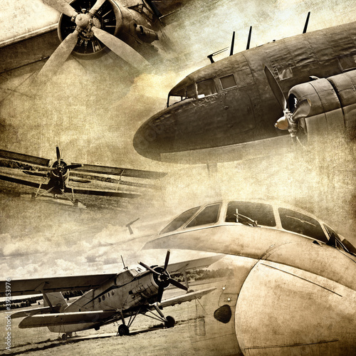 Obraz Retro aviation, grunge background - fototapety do salonu