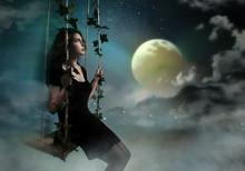 Beauty Brunette Swinging In Night Heaven