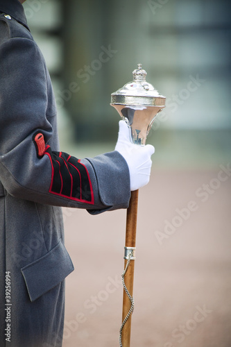 Royal bandmaster holding regiment staff Canvas Print