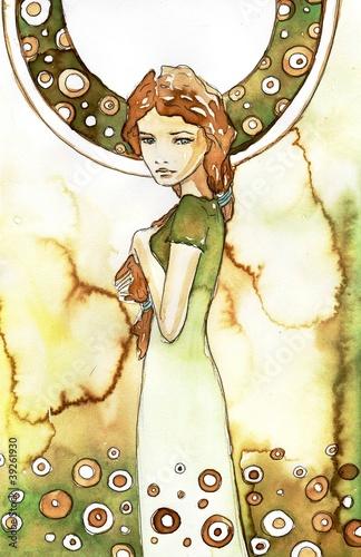 Poster Inspiration painterly piękna dziewczyna w zielonej secesji