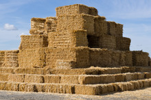 Large Stack Of Square Hay Bales