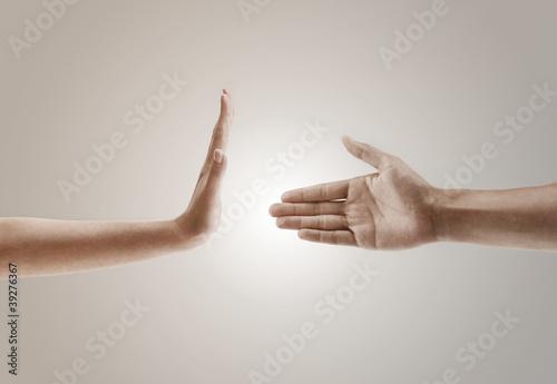 Cuadros en Lienzo  hand gesture concept of one hand refusing to handshake