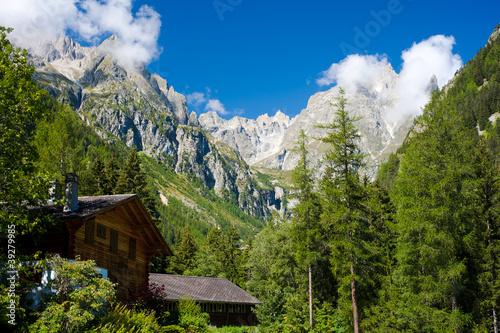 Foto auf Gartenposter Reflexion Village montagnard dans les alpes