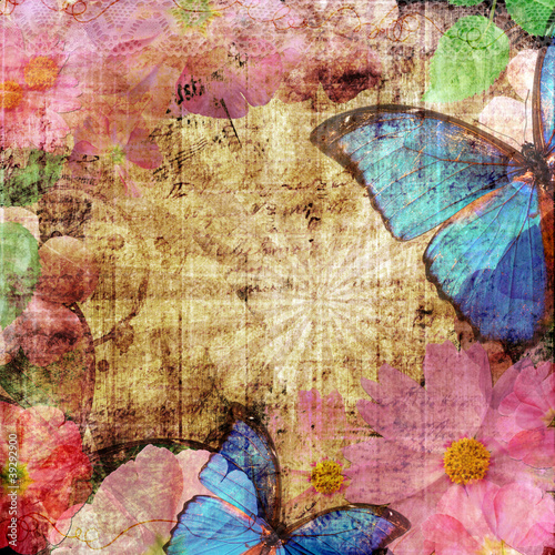 Keuken foto achterwand Vlinders in Grunge Vintage background with butterfly and flowers