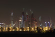 Dubai Marina skyline at night. Dubai, United Arab Emirates
