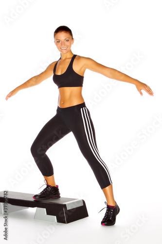 Fotografie, Obraz  Aerobic-Workout mit dem Stepper