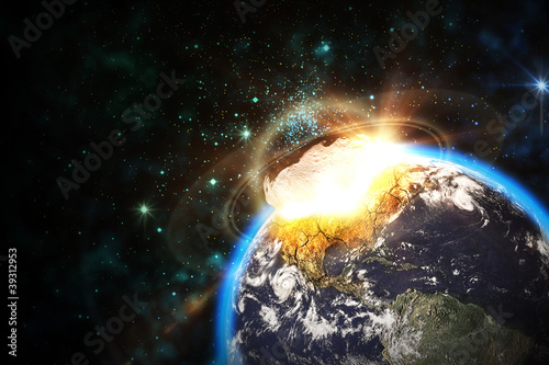 Poster Universe Space scene of asteroid impact