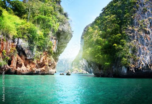 Foto op Aluminium Cathedral Cove rocks and sea in Krabi Thsiland