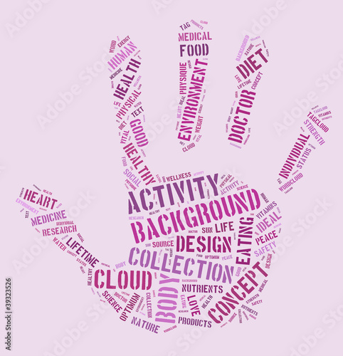 HEALTH, hand word cloud with association terms - Buy this