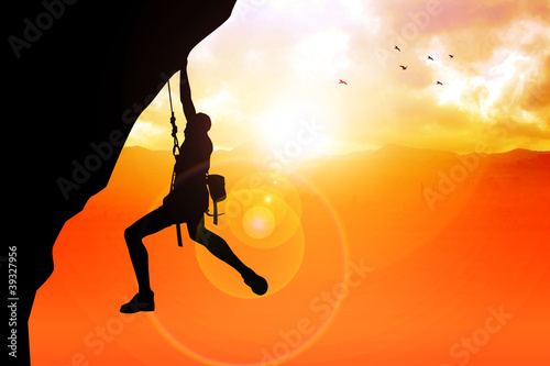 Silhouette illustration of a man figure hanging on the cliff
