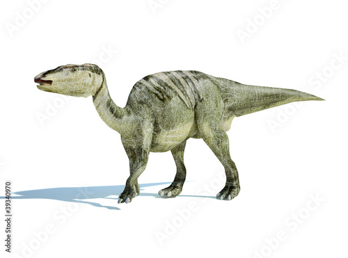 Photo  Photorealistic 3 D rendering of an Edmontosaurus.