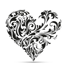 Abstract Floral Heart. Love Co...