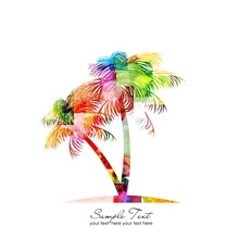 Abstract Colorful Vector Palm ...