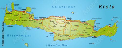 Landkarte Von Kreta Mit Autobahnen Buy This Stock Vector And