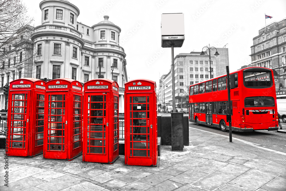 Fototapety, obrazy: Red telephone boxes and double-decker bus, london, UK.
