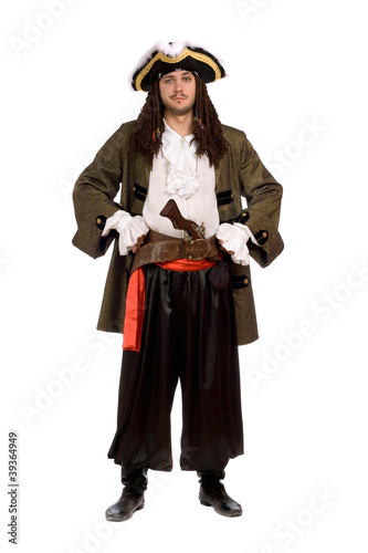 man in a pirate costume with pistol. Isolated Canvas Print