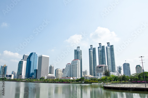 Photo Stands Kuala Lumpur The high-rise buildings in downtown Bangkok Thailand