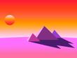 canvas print picture - Pyramiden in der pinkfarbenen Wüste Grafik