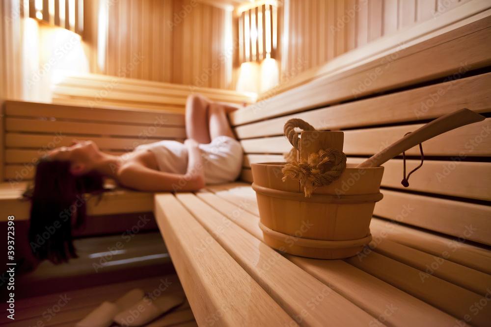 Fototapeta Girl in sauna