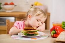 Little Girl Eating? Sandwich