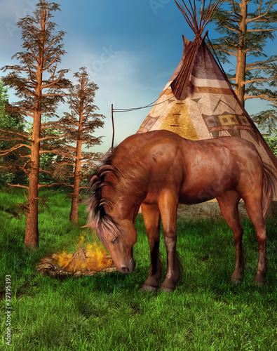 Poster Indiens Koń na tle indiańskiego obozu