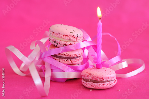 Macarons Et Bougie Danniversaire Buy This Stock Photo And Explore