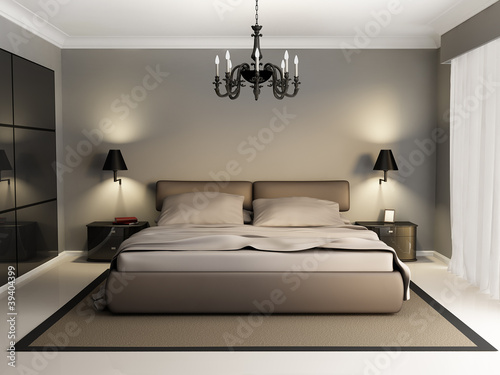 Fotografía  Modern luxury elegant bedroom interior, chandelier front