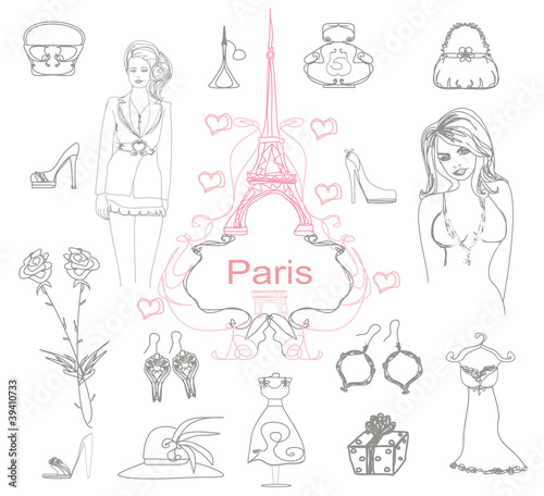 Canvas Prints Doodle Paris doodles.