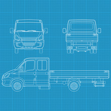 High Detailed Vector Illustration Of A Truck - Three Side View