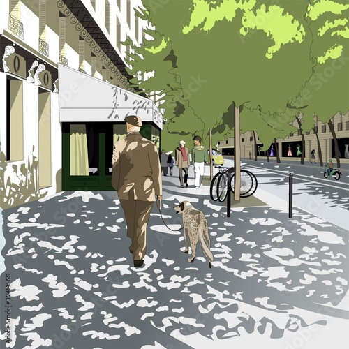 Foto auf AluDibond Gezeichnet Straßenkaffee Пожилой человек выгуливает собаку по бульвару